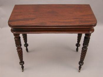 A Signed Walnut Swivel Top Game Table, C. Early 19th Century