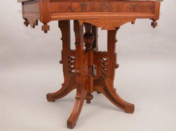 Walnut Eastlake Victorian Marble Top Parlor Table 09 20