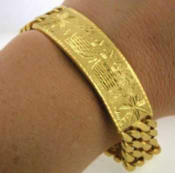 Solid High Karat Gold Mens Bracelet 092003