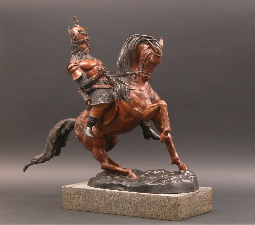 Signed Bronze Statue Of Spanish Warrior On Horseback 09
