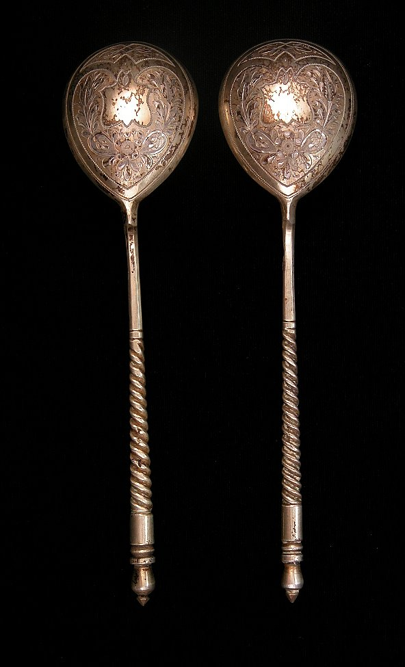 A Pair of Russian Silver Spoons, Moskow, ca  1880, 09 16 04