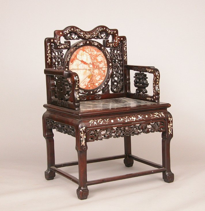Chinese Arm Chair With Mother Of Pearl Inlay And Marble Back Seat