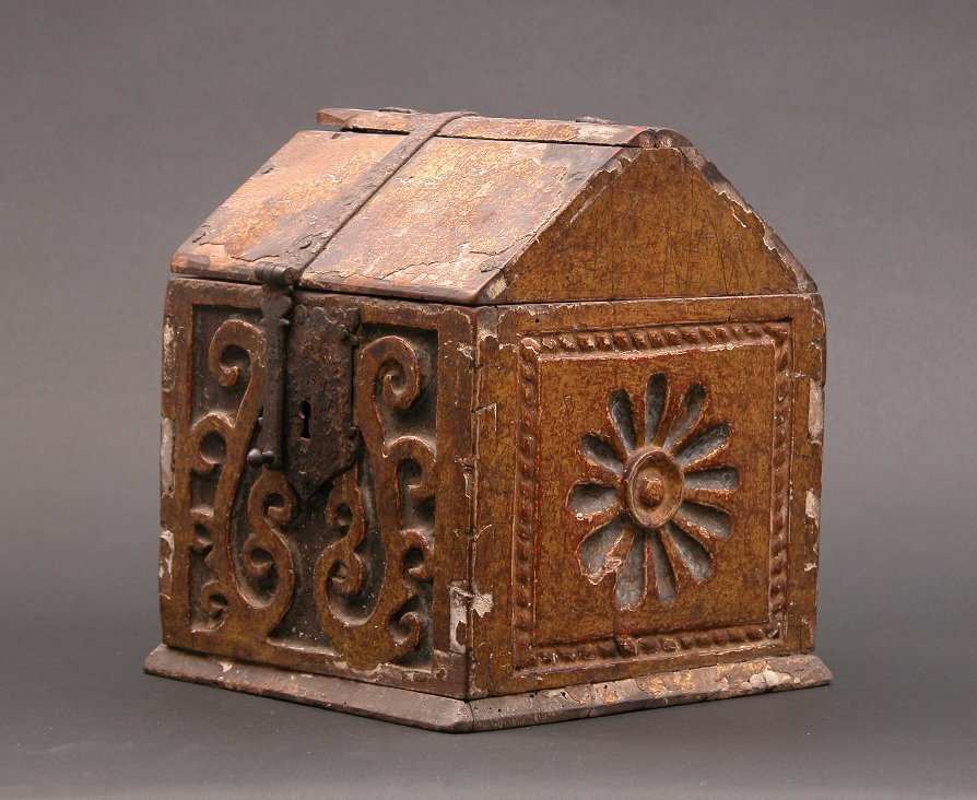 A Carved Gilt Alms Box French Or Italian Ca 15th 16th