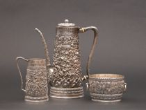 Tiffany & Co. Repousse Sterling Silver Set, ca. Late 19th Century