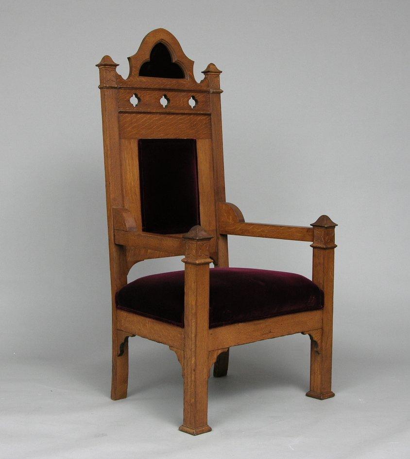 Wonderful Oak Gothic Bishopu0027s Chair