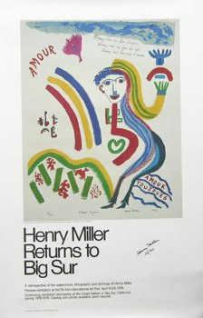 A Signed Henry Miller Poster (American, 1891-1980), 06.02.05, Sold ...