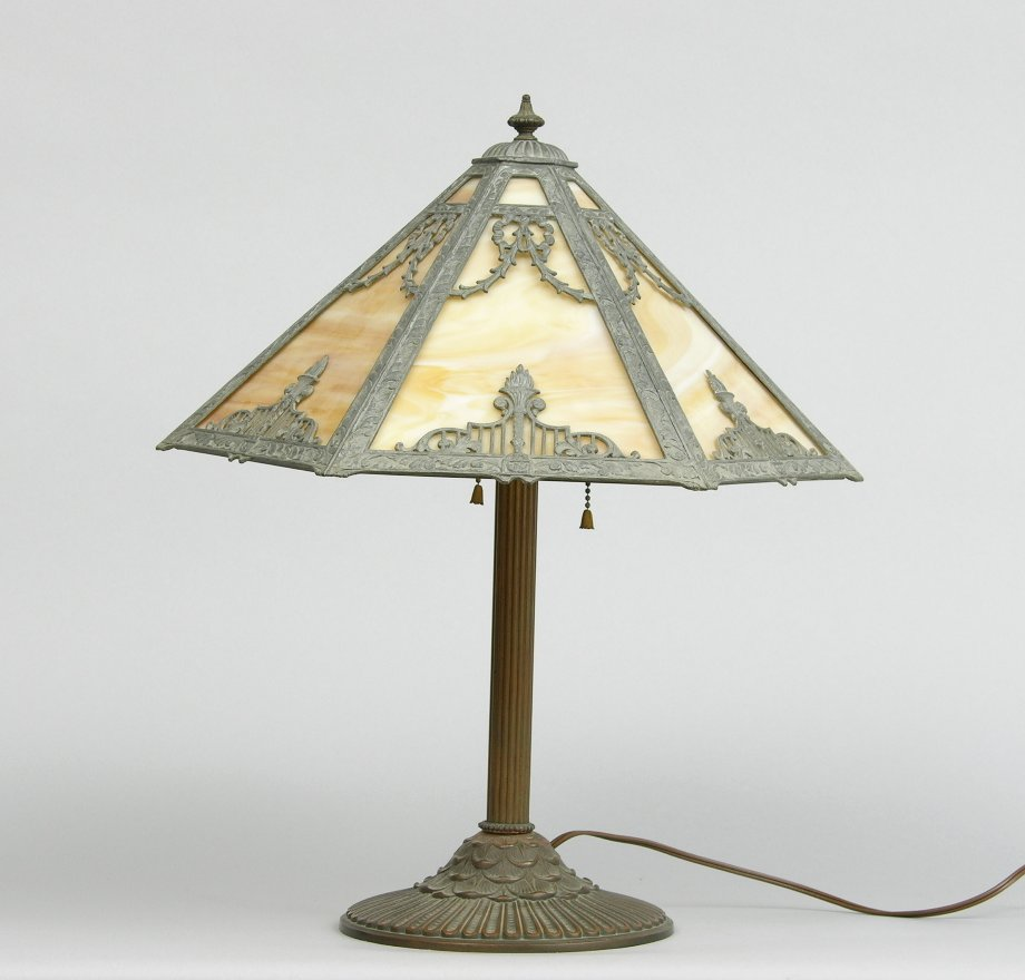 Rainaud Slag Glass Table Lamp Circa Early 20th Century 11 18 05