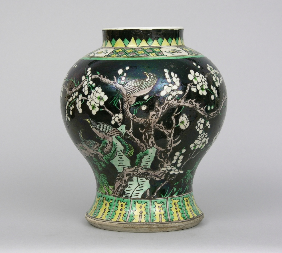 chinese famille noir vase guangxu ca late 19th sold 69. Black Bedroom Furniture Sets. Home Design Ideas