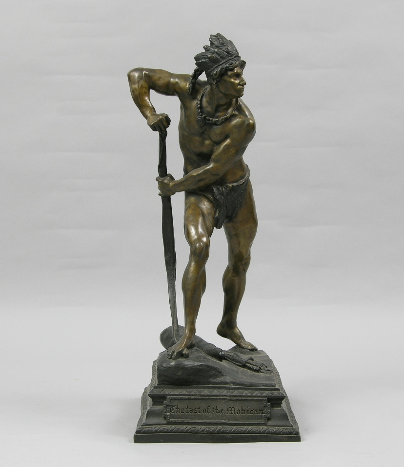 """""""Last Of The Mohicans"""" Antique Sculpture by N. Plaza, ca ..."""