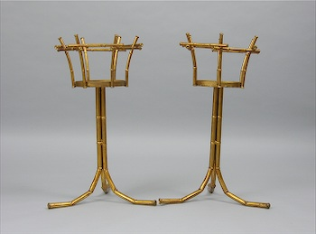 pair of tall metal plant stands