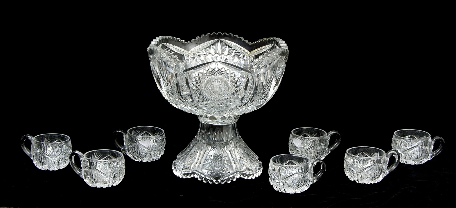 Brilliant Cut Glass Punch Bowl a Brilliant Cut Glass Punch