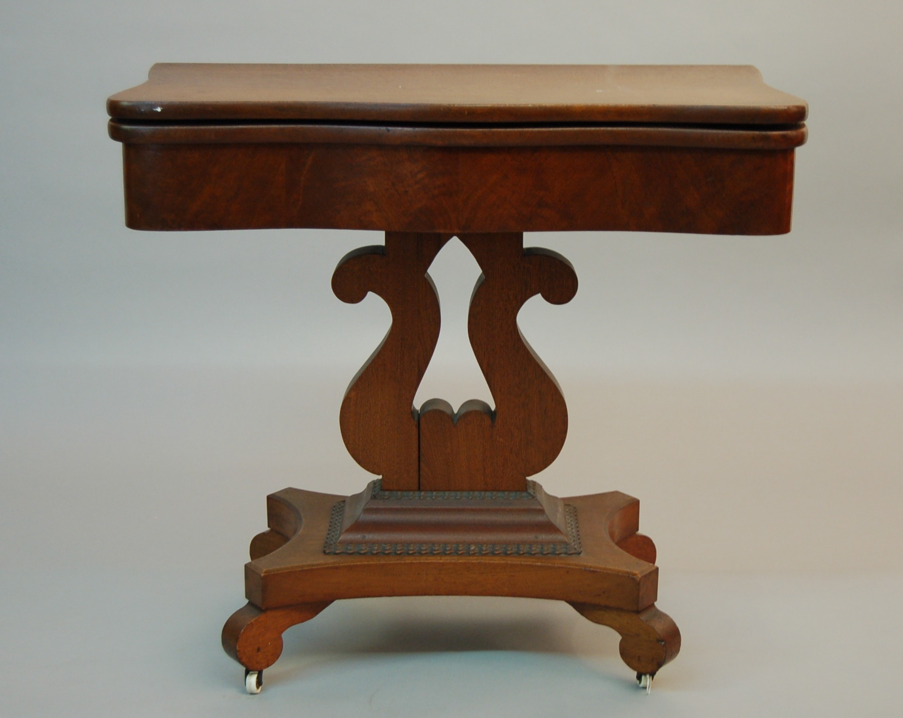 High Quality A Walnut Flip Top Games Table Or Tea Table, Ca. 19th Century