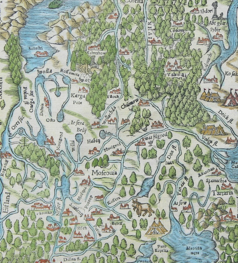 Map of Moscovia by Sebastian Munster 14891552 from Cosmographia