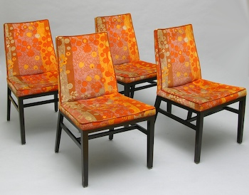 Eight Matching Dining Chairs And Two Matching Harvey Probber Swivel Chairs,  Upholstered In Original Jack