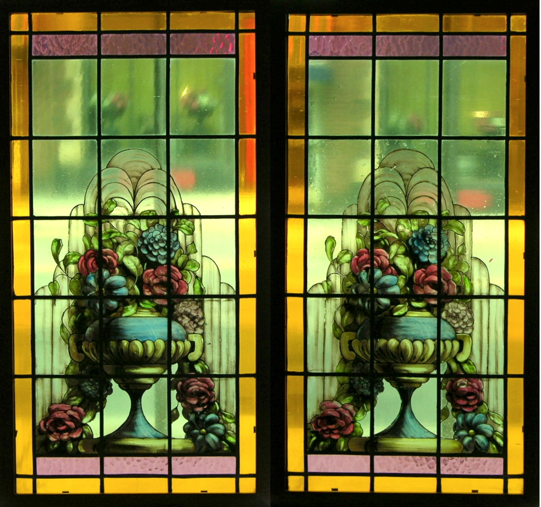 Two framed stained glass window panels sold 517 5 for 15 panel beveled glass door