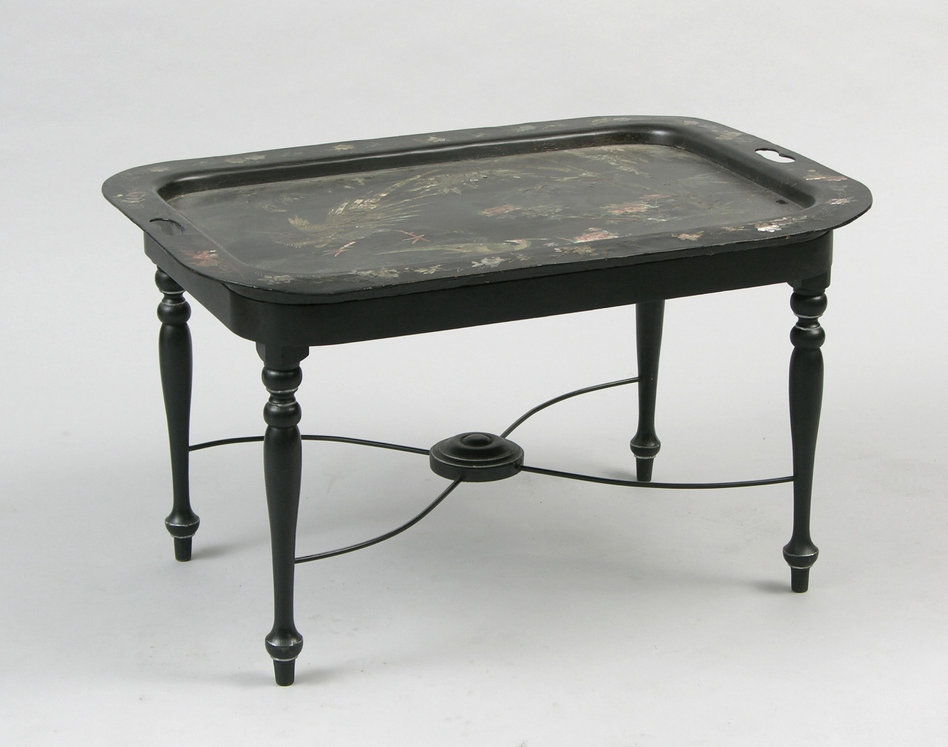 Another Antique Papier Mache Tray Table, Chinese Lacquer Top, Ca. 18th  Century