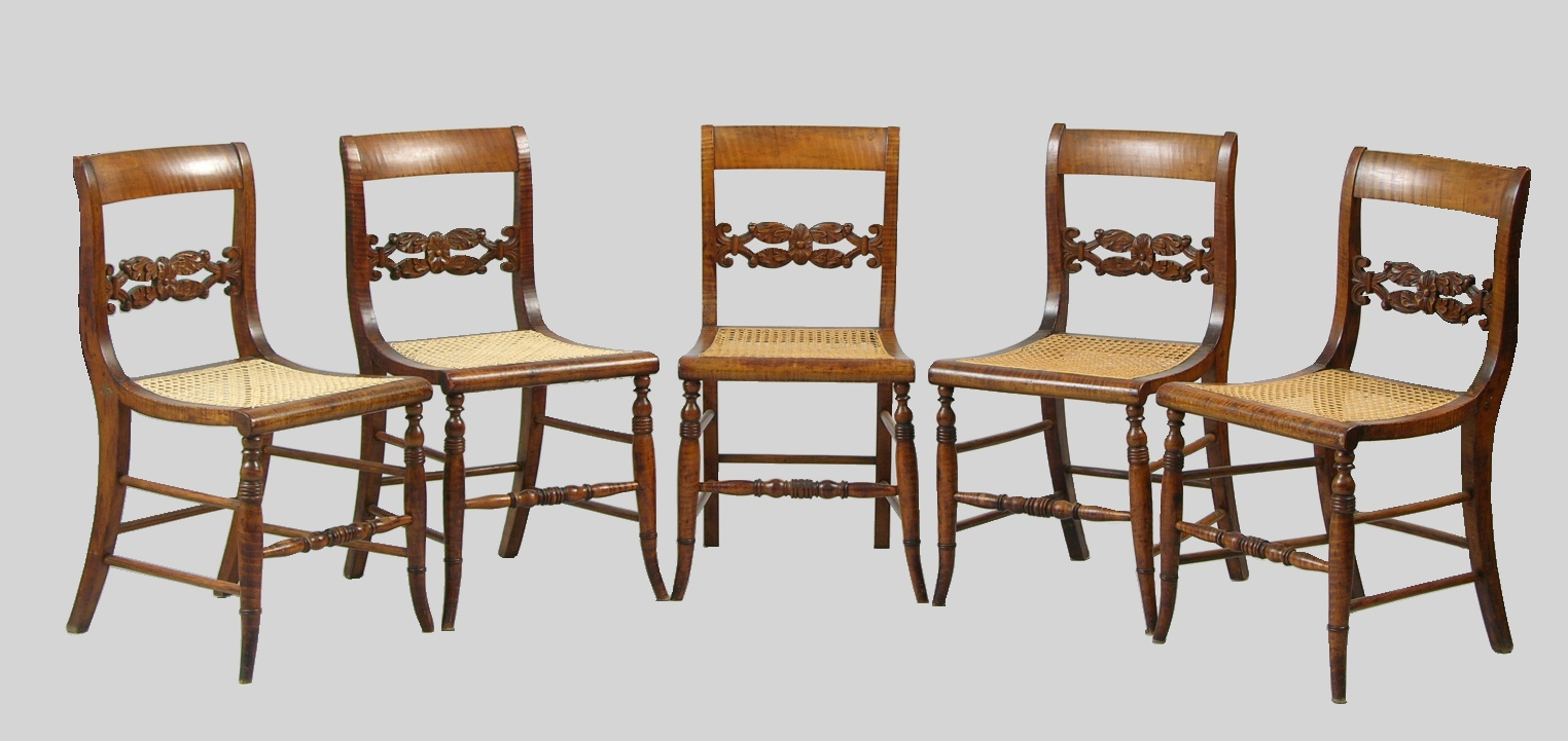Five Federal Style Antique Tiger Maple Chairs With Cane Seats - Five Federal Style Antique Tiger Maple Chairs With Cane Seats, 09.22