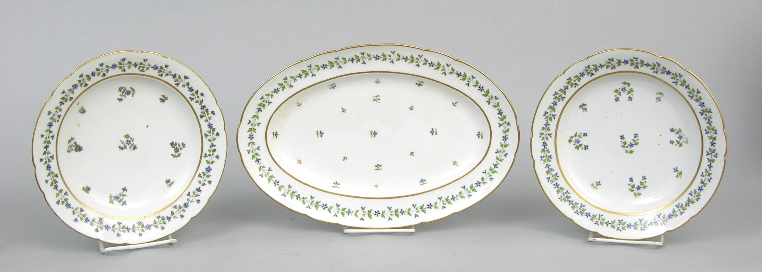 A French Hard Paste Porcelain Plates & Platter in Angoulême Sprig
