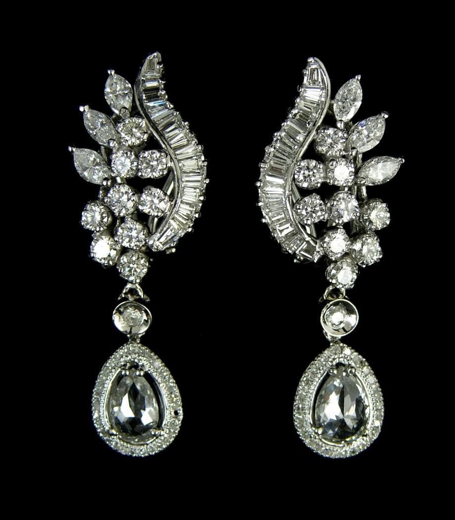 Fancy Diamond Earrings With Rose Cut Pear Shaped Diamonds