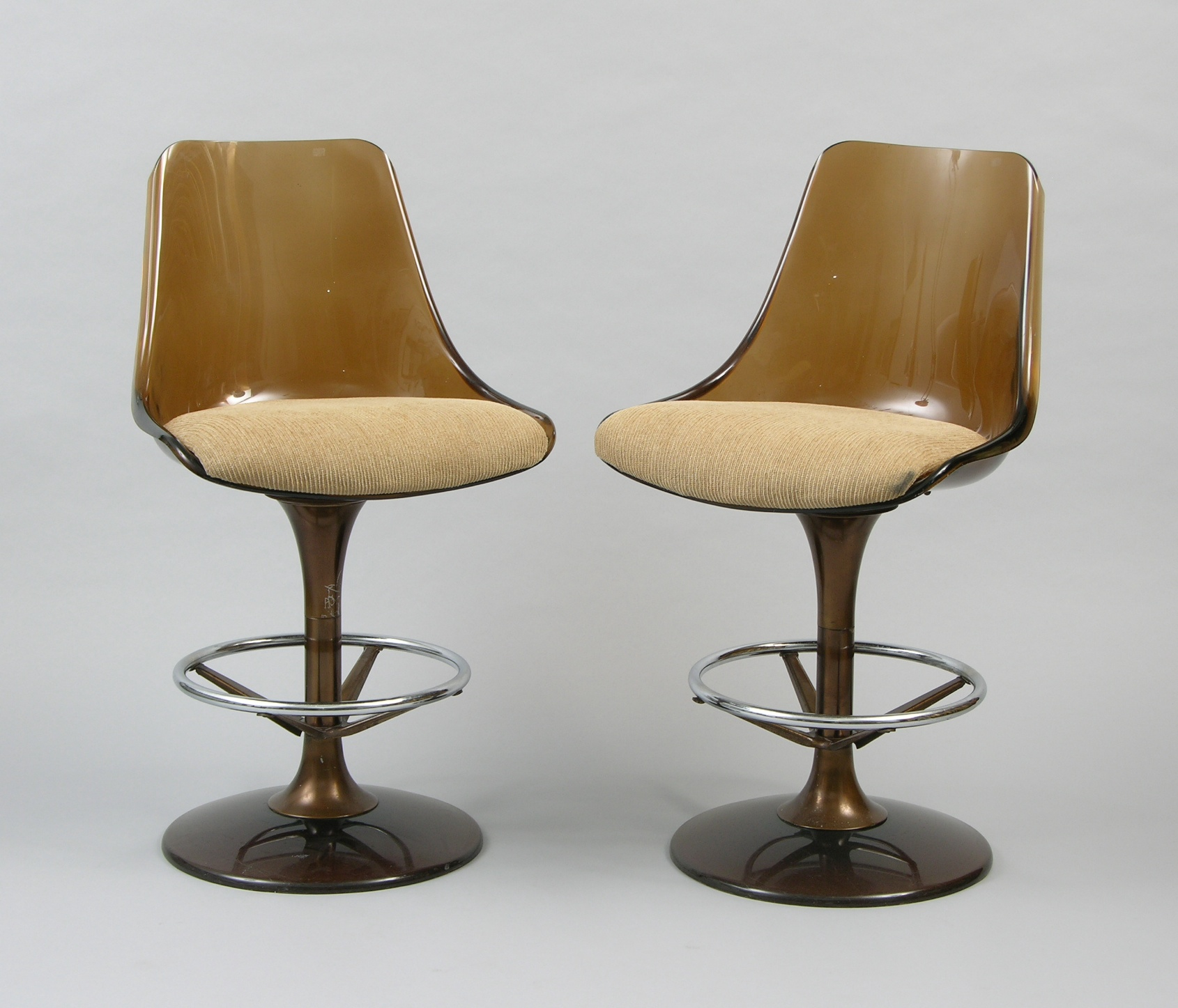 two lucite barstools by chromcraft