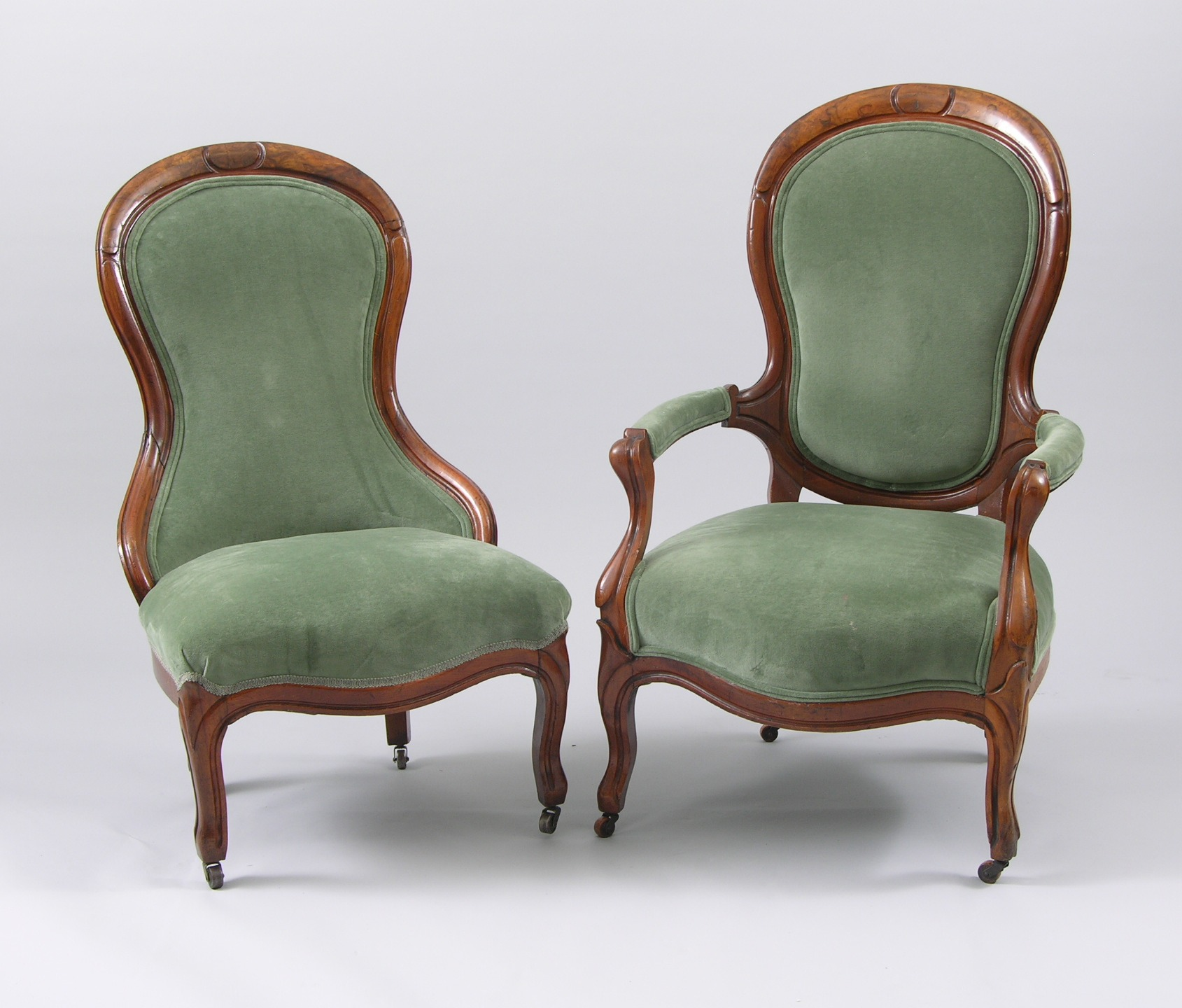 A Pair Of Victorian Balloon Back Mr. U0026 Mrs. Chairs
