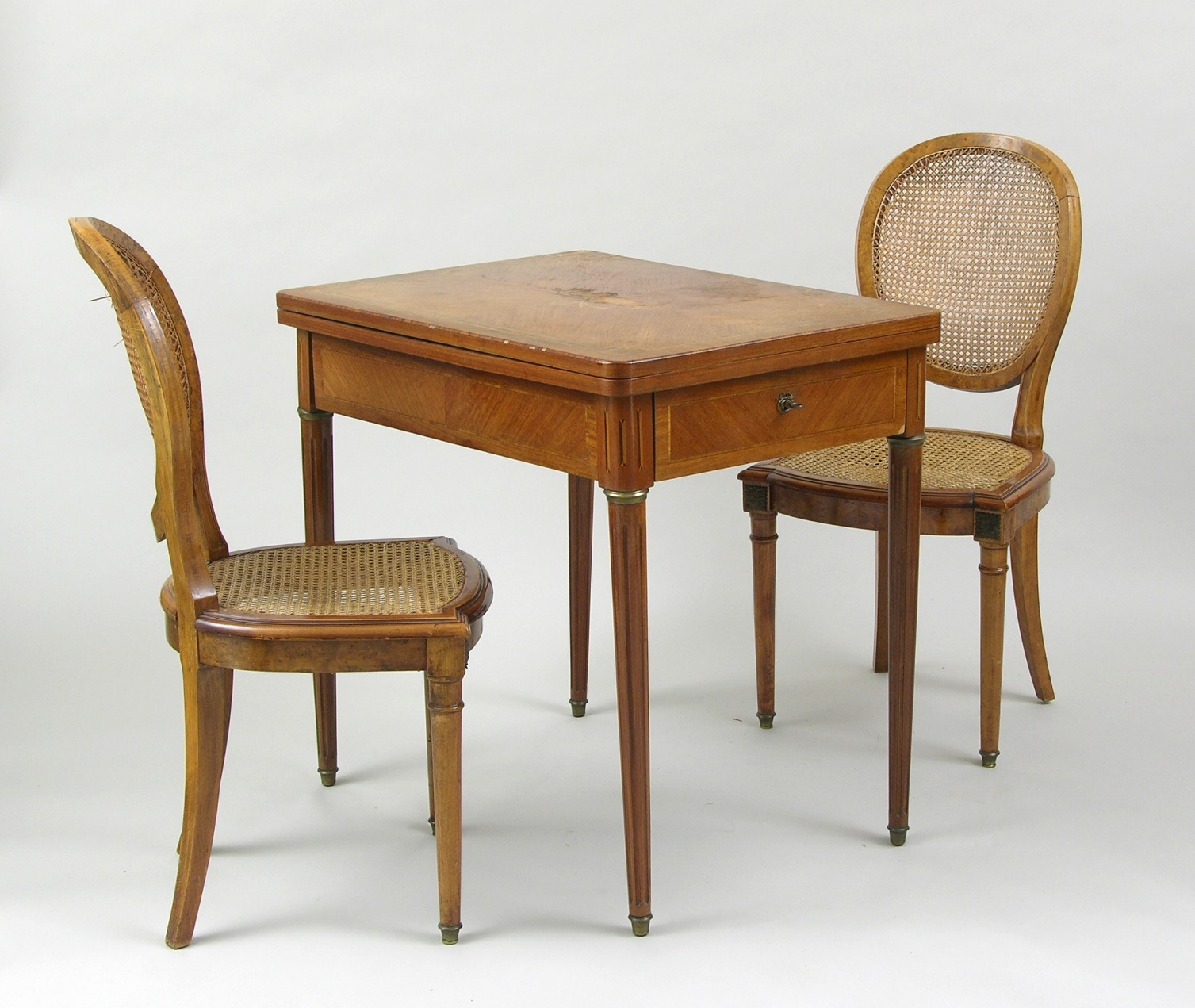 Antique game table chairs - An Antique Game Table And Two Chairs French Ca Early 20th Century