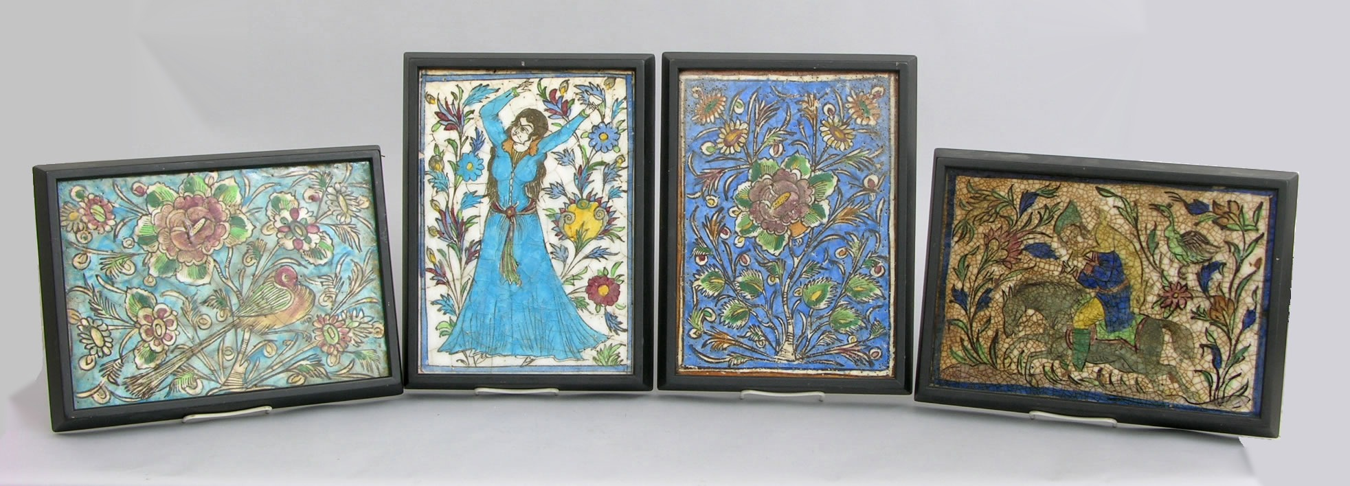 Four antique persian hand painted framed ceramic tiles 030709 four antique persian hand painted framed ceramic tiles dailygadgetfo Image collections