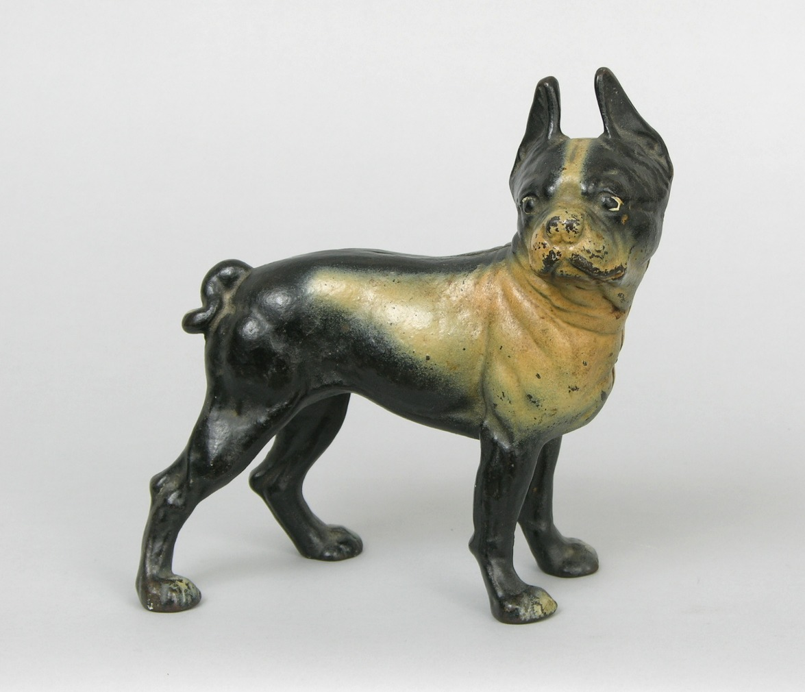 Vintage original hubley fox terrier 381 full figured large art statue - A Cast Iron Boston Terrier Doorstop