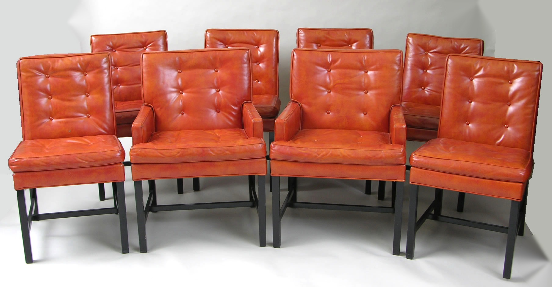 set of eight mid century modern dining chairs by harvey probber for