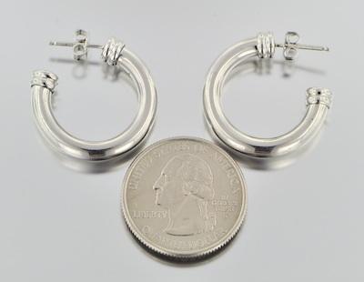 A Pair of Platinum Hoop Earrings by Scott Kay 11 20 09