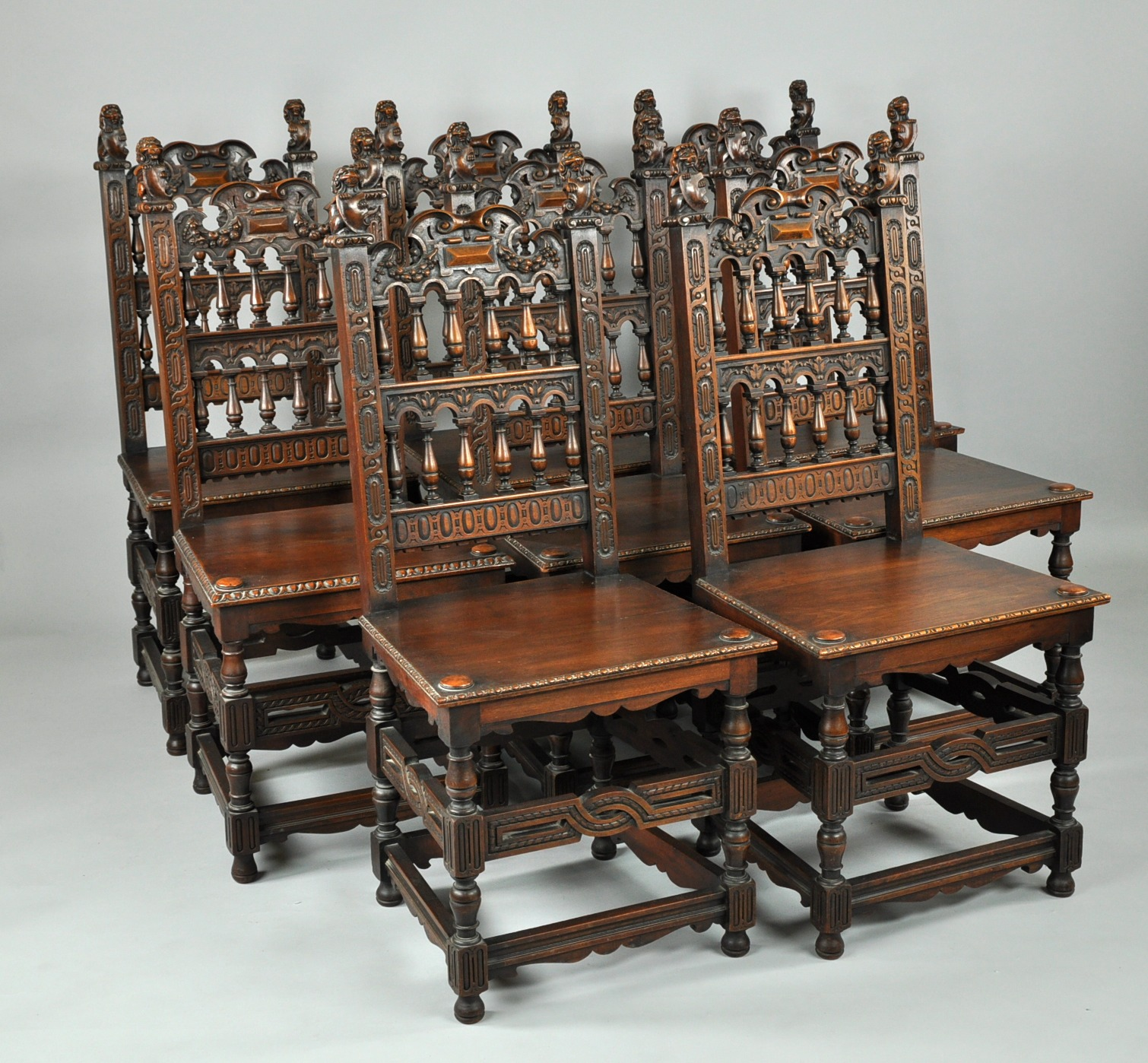 A Set Eight Ornately Carved Dining Chairs Belgian ca Early