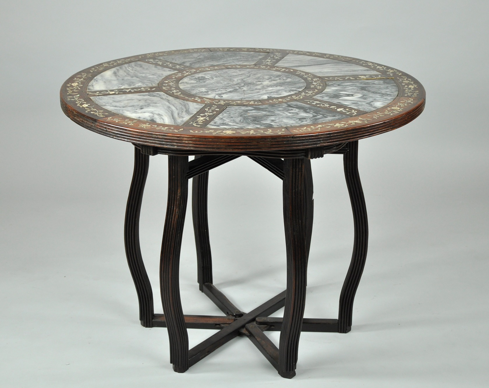 Oriental Rosewood Table with Marble Mother of Pearl and Brass