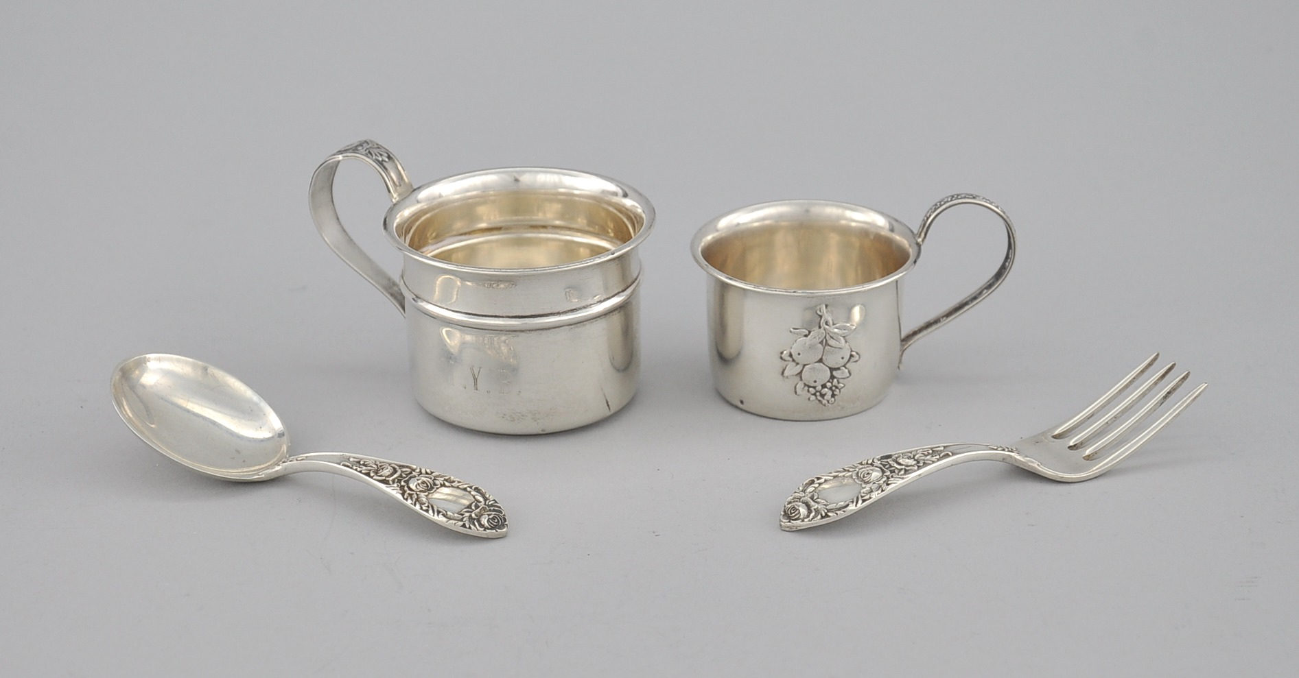 A sterling silver baby spoon and fork by s kirk son and for Sterling silver baby spoon and fork