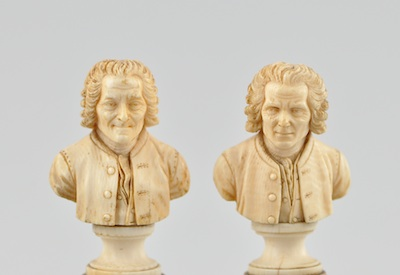 Two Continental Carved Ivory Miniature Portrait Busts, Possibly