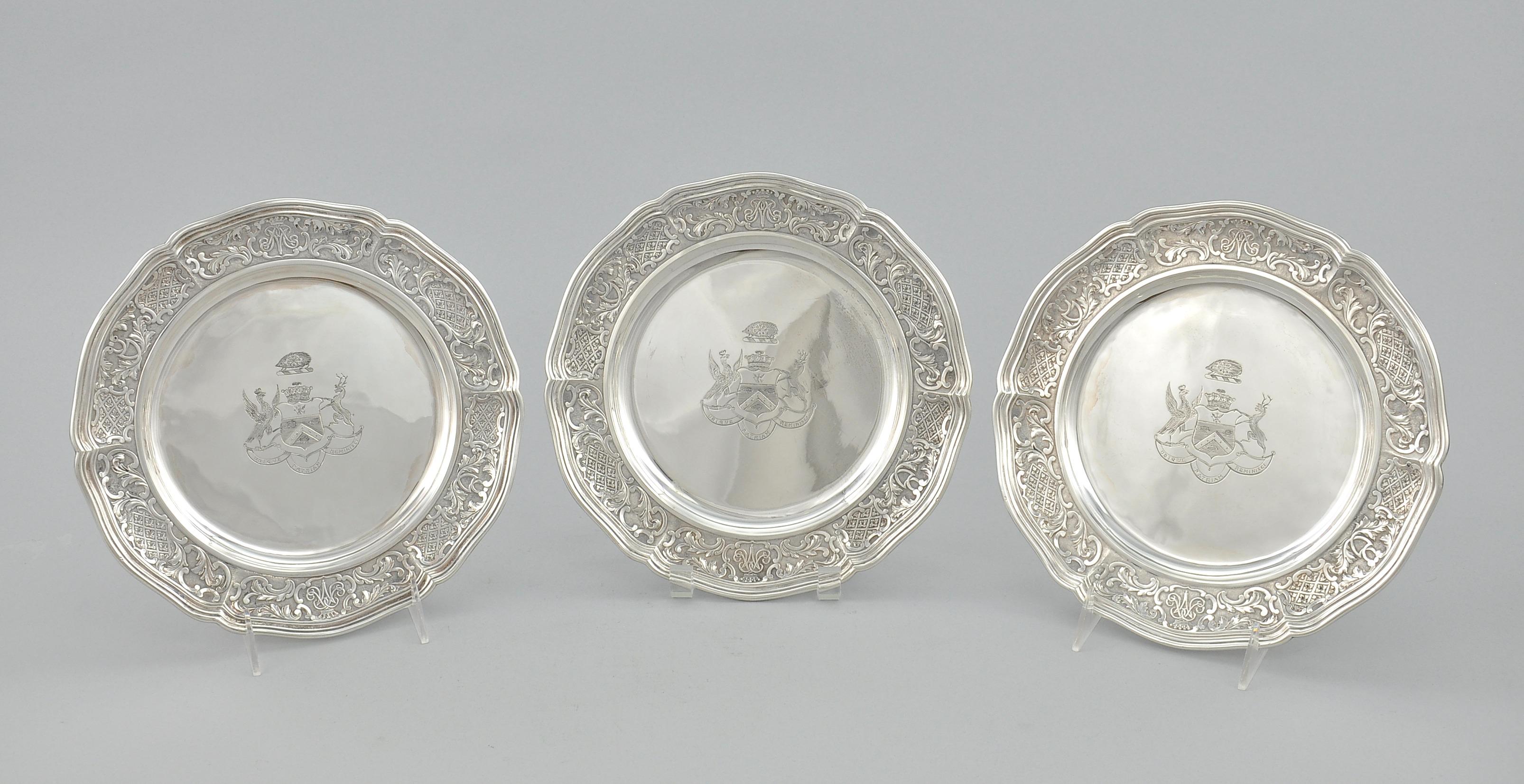 Three Armorial Sterling Silver Plates Storr u0026 Mortimer ca. & Three Armorial Sterling Silver Plates Storr u0026 Mortimer ca. 1834-35 ...