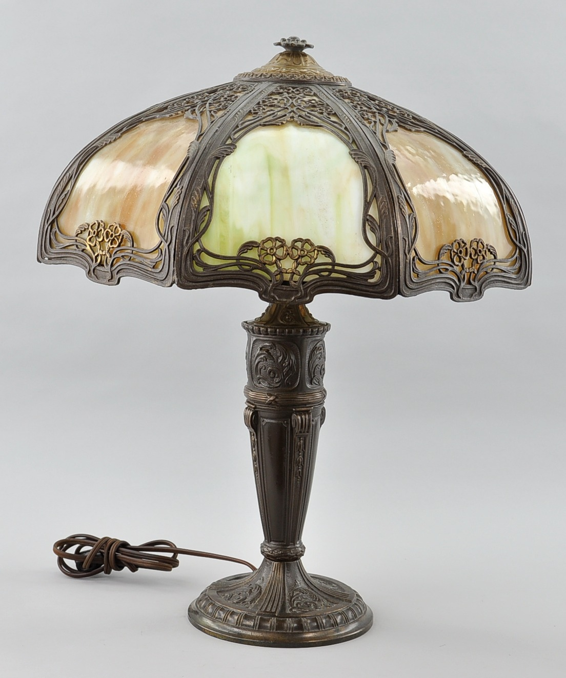 an antique slag glass lamp and shade sold 414. Black Bedroom Furniture Sets. Home Design Ideas