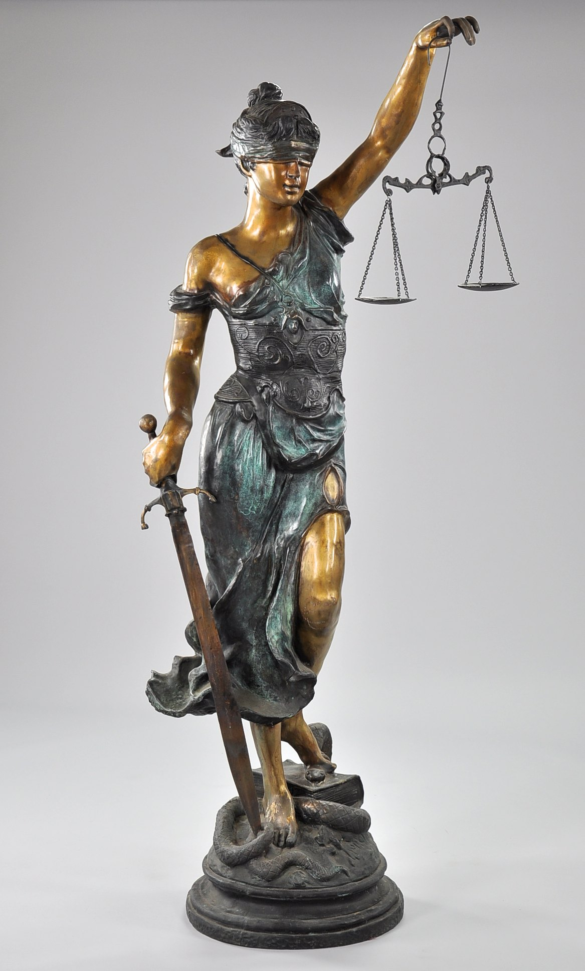 a large bronze statue of themis blind justice 052010