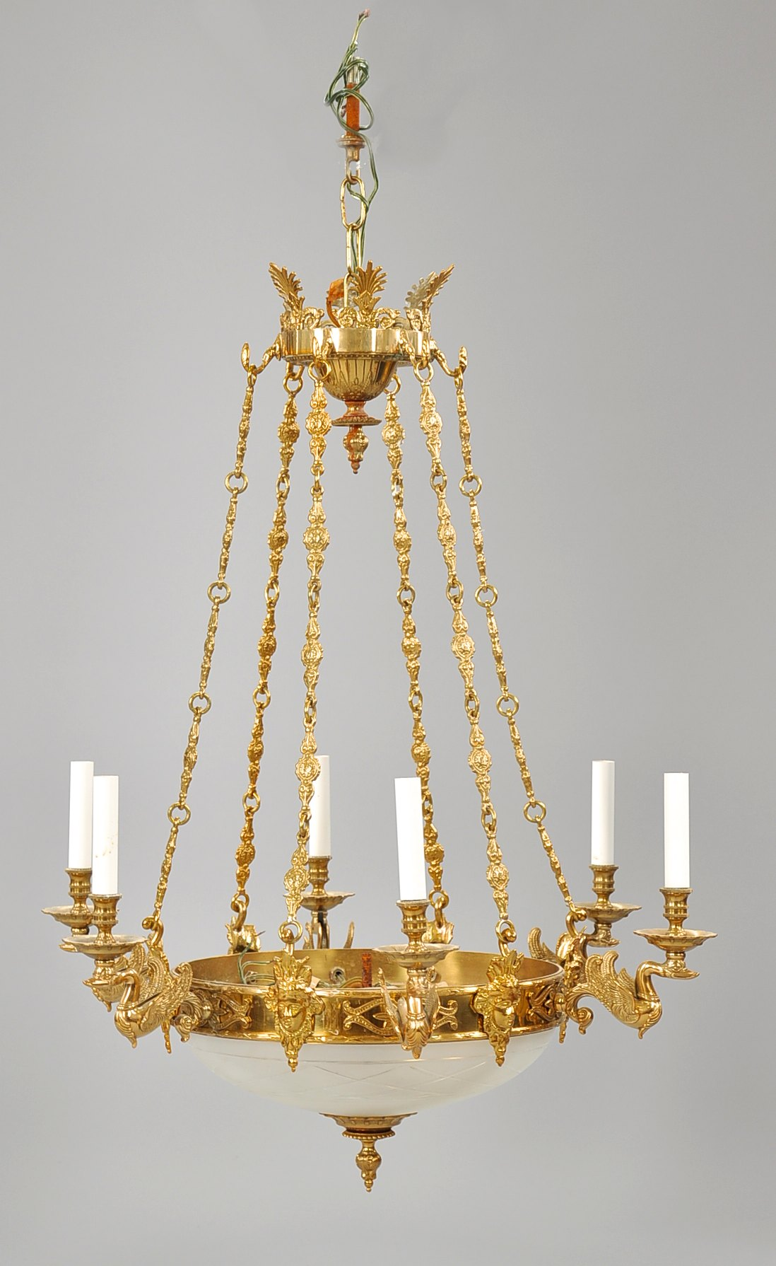 An Empire Style Brass and Frosted Glass Swan Design Chandelier 20th