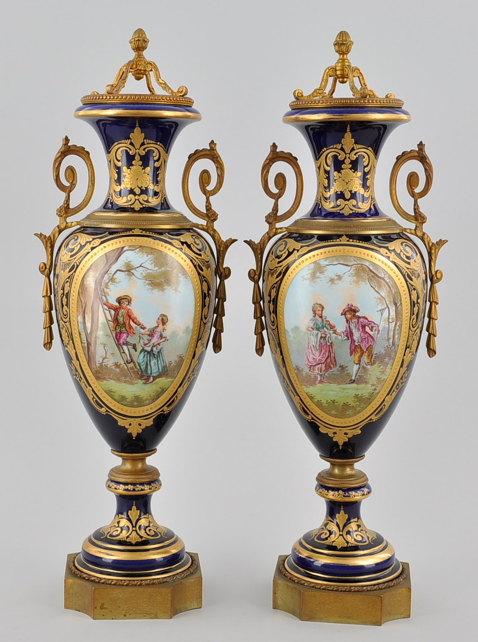 A pair of french cobalt scenic vases by e froger france ca a pair of french cobalt scenic vases by e froger france ca reviewsmspy