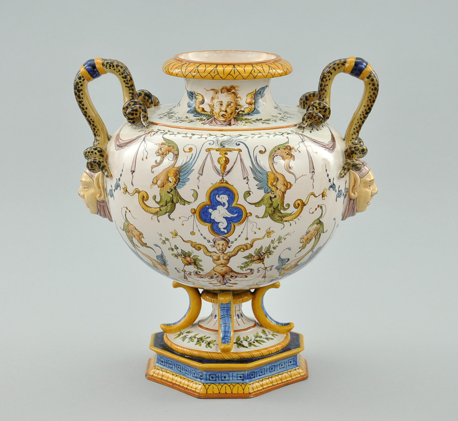 A clement massier golfe juan lustre vase 052210 sold 6095 ginori italian majolica ceramic double handle serpent vase ca 19th century reviewsmspy