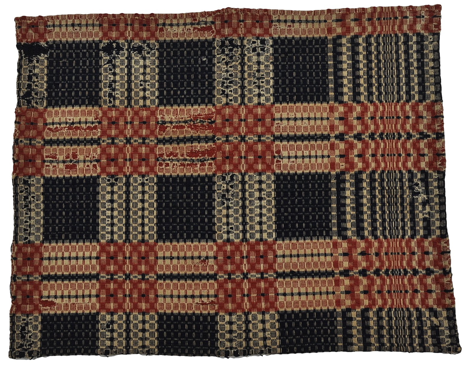 American Wool Coverlet, Ca. Early 19th Century