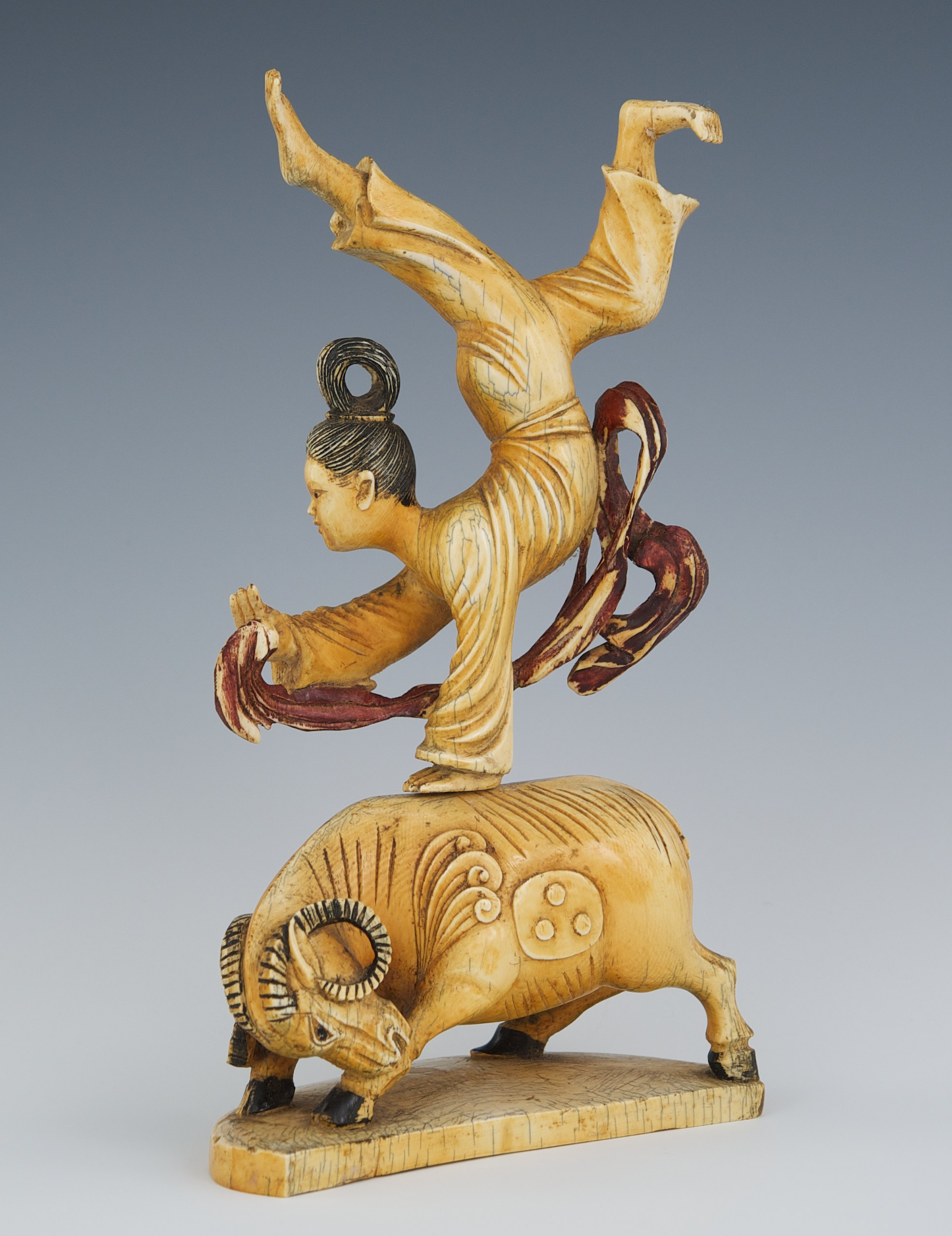 A Carved Bone Or Ivory Acrobat On A Water Buffalo 09 25 10 Sold 592 25