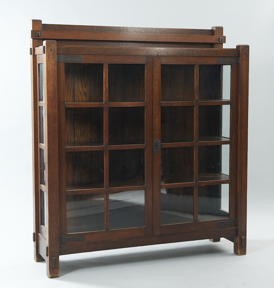 an arts and crafts oak china cabinet sold 2070