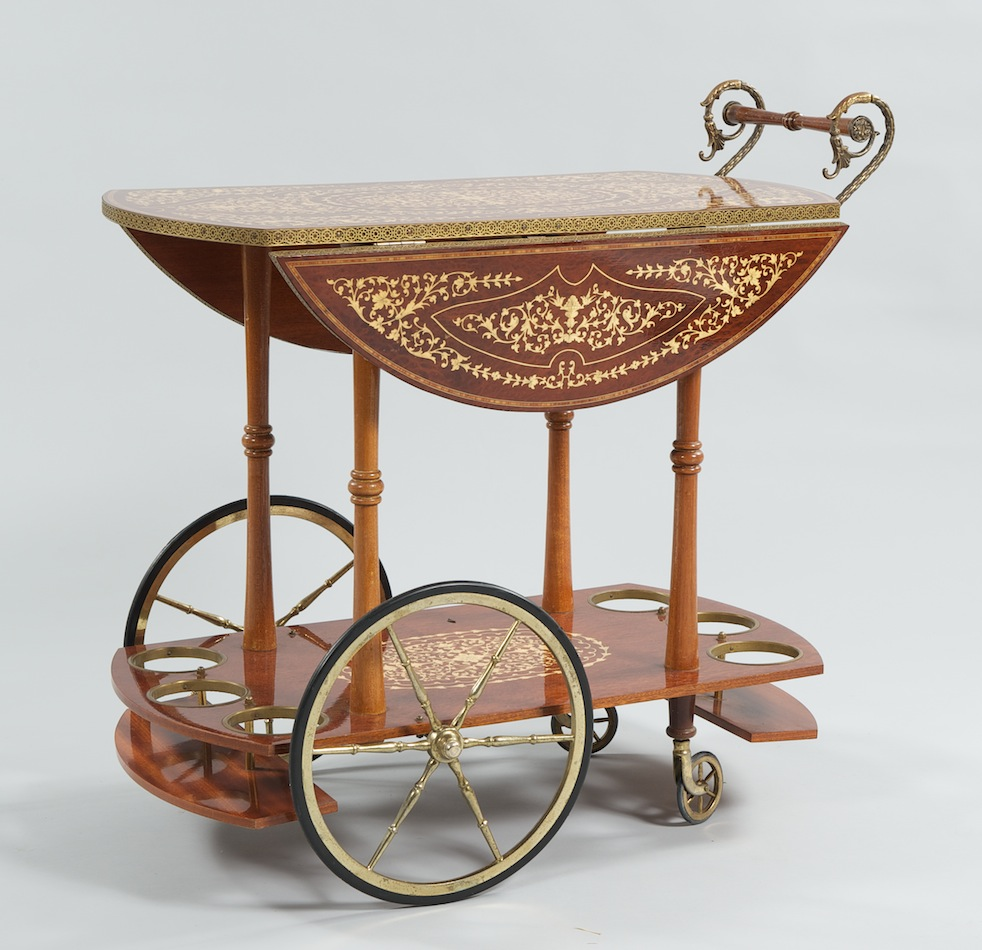 Amazing A Vintage Italian Rosewood And Burlwood Marquetry Serving Cart With Brass  Mounts