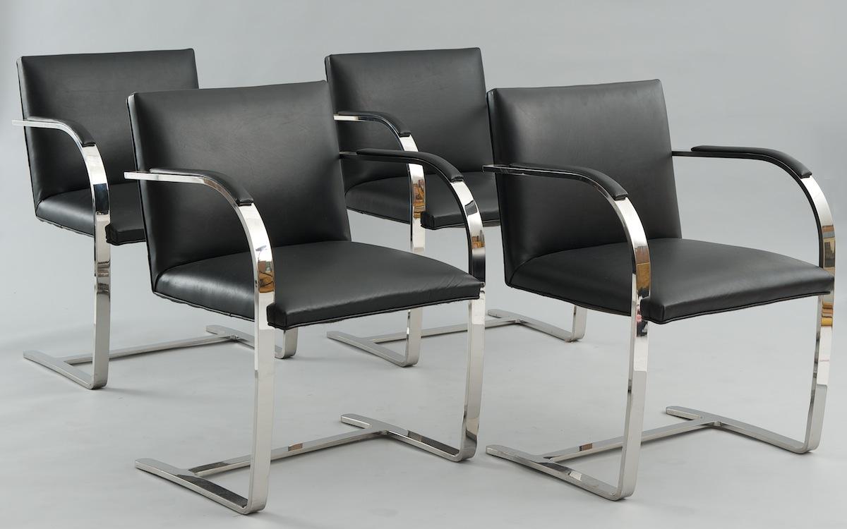 Four sedia brno chairs designed by ludwig mies van der - Mies van der rohe sedia ...