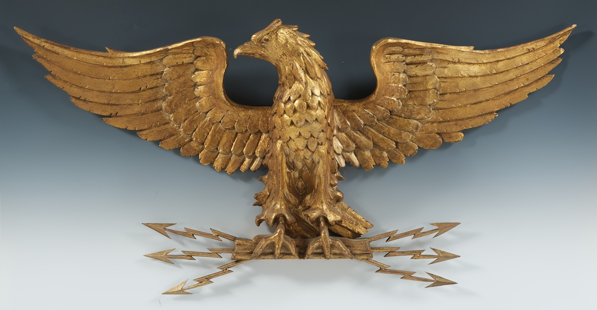 A Gilt Wood Eagle Wall Ornament 01 29 11 Sold 655 5