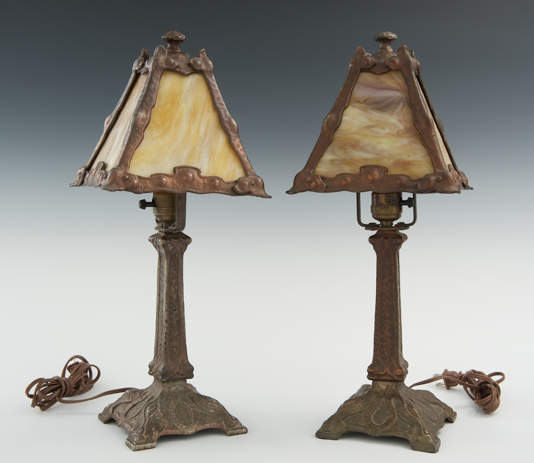 A pair of arts and crafts table lamps with slag glass shades 0129 a pair of arts and crafts table lamps with slag glass shades arubaitofo Choice Image