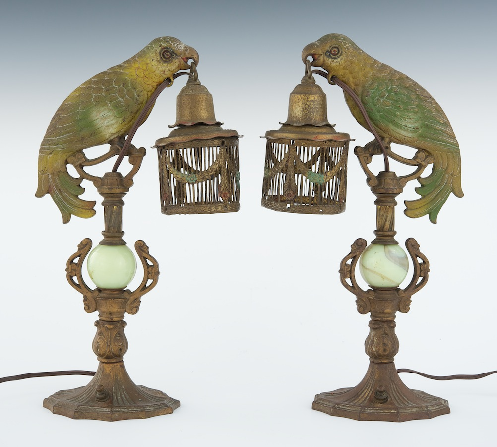 A Pair Of Art Deco Cold Painted Parrot Boudoir Lamps