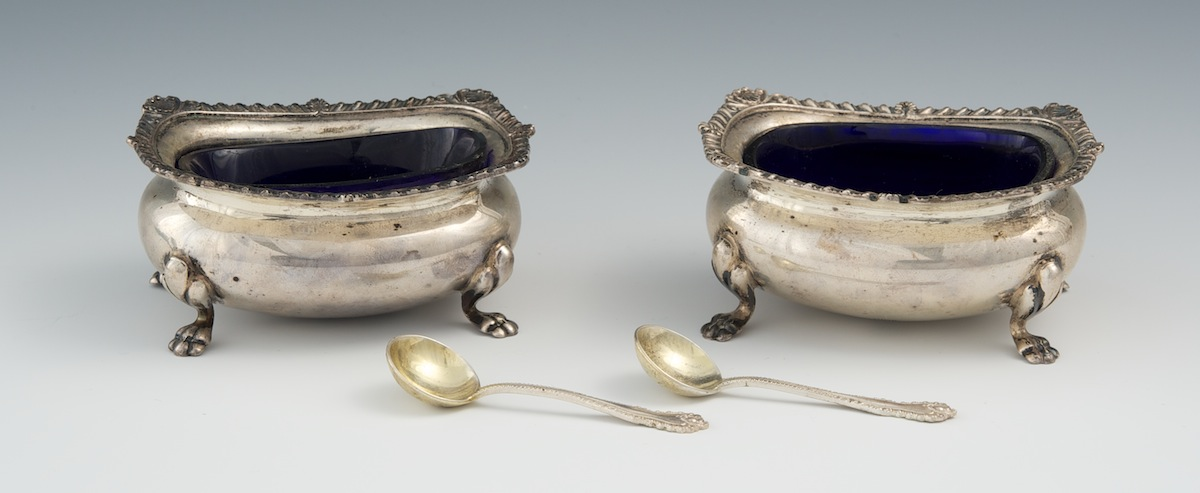 A Pair Of Sterling Silver Individual Salt Cellars With