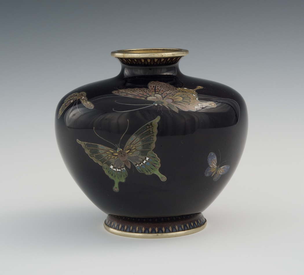 Fine japanese cloisonne march 2011 auction a small cloisonne butterfly vase attributed to hayashi kodeji meiji period reviewsmspy